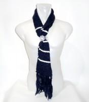 Grosir Syal Scarf Wool Rajut Warna Biru Donker Putih