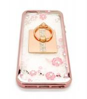 Grosir Soft Case Shining Flower i Phone 5 Pink Plus Ring Murah